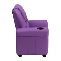 Flash Furniture DG-ULT-KID-LAV-GG Contemporary Lavender Vinyl Kids Recliner with Cup Holder and Headrest addl-1