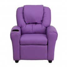 Flash Furniture DG-ULT-KID-LAV-GG Contemporary Lavender Vinyl Kids Recliner with Cup Holder and Headrest addl-3