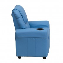 Flash Furniture DG-ULT-KID-LTBLUE-GG Contemporary Light Blue Vinyl Kids Recliner with Cup Holder and Headrest addl-1