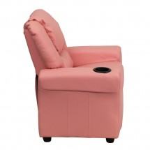 Flash Furniture DG-ULT-KID-PINK-GG Contemporary Pink Vinyl Kids Recliner with Cup Holder and Headrest addl-1