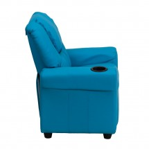 Flash Furniture DG-ULT-KID-TURQ-GG Contemporary Turquoise Vinyl Kids Recliner with Cup Holder and Headrest addl-1
