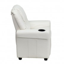 Flash Furniture DG-ULT-KID-WHITE-GG Contemporary White Vinyl Kids Recliner with Cup Holder and Headrest addl-1