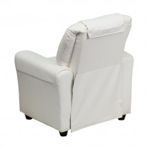 Flash Furniture DG-ULT-KID-WHITE-GG Contemporary White Vinyl Kids Recliner with Cup Holder and Headrest addl-2