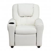 Flash Furniture DG-ULT-KID-WHITE-GG Contemporary White Vinyl Kids Recliner with Cup Holder and Headrest addl-3
