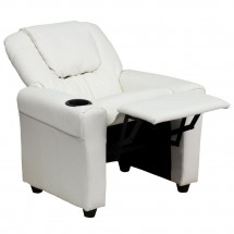 Flash Furniture DG-ULT-KID-WHITE-GG Contemporary White Vinyl Kids Recliner with Cup Holder and Headrest addl-4