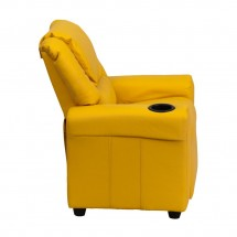 Flash Furniture DG-ULT-KID-YEL-GG Contemporary Yellow Vinyl Kids Recliner with Cup Holder and Headrest addl-1