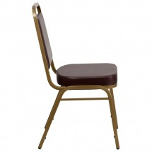 Flash Furniture FD-BHF-1-ALLGOLD-BN-GG HERCULES Series Trapezoidal Back Stacking Brown Vinyl Banquet Chair - Gold Frame addl-1