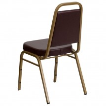 Flash Furniture FD-BHF-1-ALLGOLD-BN-GG HERCULES Series Trapezoidal Back Stacking Brown Vinyl Banquet Chair - Gold Frame addl-2