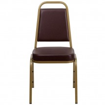 Flash Furniture FD-BHF-1-ALLGOLD-BN-GG HERCULES Series Trapezoidal Back Stacking Brown Vinyl Banquet Chair - Gold Frame addl-3