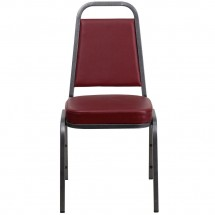 Flash Furniture FD-BHF-1-SILVERVEIN-BY-GG HERCULES Series Trapezoidal Back Stacking Burgundy Vinyl Banquet Chair - Silver Vein Frame addl-3