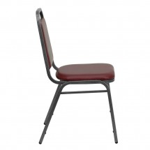 Flash Furniture FD-BHF-2-BY-VYL-GG HERCULES Series Trapezoidal Back Stacking Burgundy Vinyl Banquet Chair - Silver Vein Frame addl-1