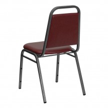 Flash Furniture FD-BHF-2-BY-VYL-GG HERCULES Series Trapezoidal Back Stacking Burgundy Vinyl Banquet Chair - Silver Vein Frame addl-2