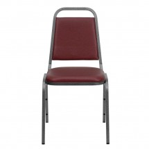 Flash Furniture FD-BHF-2-BY-VYL-GG HERCULES Series Trapezoidal Back Stacking Burgundy Vinyl Banquet Chair - Silver Vein Frame addl-3