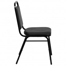 Flash Furniture FD-BHF-2-GG HERCULES Series Upholstered Stack Chair with Trapezoidal Back Black Frame and Black Seat addl-1