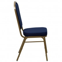 Flash Furniture FD-C01-ALLGOLD-2056-GG HERCULES Series Crown Back Navy Stacking Banquet Chair - Gold Frame addl-1