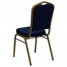 Flash Furniture FD-C01-ALLGOLD-2056-GG HERCULES Series Crown Back Navy Stacking Banquet Chair - Gold Frame addl-2