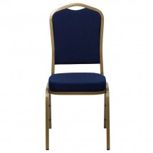 Flash Furniture FD-C01-ALLGOLD-2056-GG HERCULES Series Crown Back Navy Stacking Banquet Chair - Gold Frame addl-3