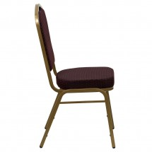 Flash Furniture FD-C01-ALLGOLD-EFE1679-GG HERCULES Series Crown Back Burgundy Stacking Banquet Chair with 2.5 Thick Seat - Gold Frame addl-1