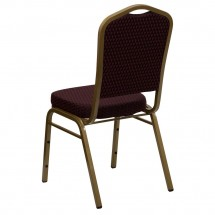 Flash Furniture FD-C01-ALLGOLD-EFE1679-GG HERCULES Series Crown Back Burgundy Stacking Banquet Chair with 2.5 Thick Seat - Gold Frame addl-2