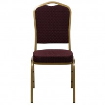 Flash Furniture FD-C01-ALLGOLD-EFE1679-GG HERCULES Series Crown Back Burgundy Stacking Banquet Chair with 2.5 Thick Seat - Gold Frame addl-3