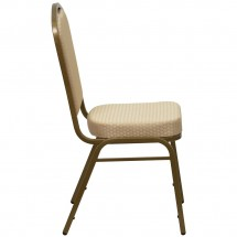 Flash Furniture FD-C01-ALLGOLD-H20124E-GG HERCULES Series Crown Back Beige Stacking Banquet Chair - Gold Frame addl-1