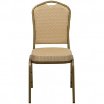 Flash Furniture FD-C01-ALLGOLD-H20124E-GG HERCULES Series Crown Back Beige Stacking Banquet Chair - Gold Frame addl-3
