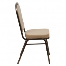 Flash Furniture FD-C01-COPPER-TN-VY-GG HERCULES Series Crown Back Stacking Tan Vinyl Banquet Chair - Copper Vein Frame addl-1