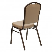 Flash Furniture FD-C01-COPPER-TN-VY-GG HERCULES Series Crown Back Stacking Tan Vinyl Banquet Chair - Copper Vein Frame addl-2