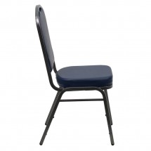 Flash Furniture FD-C01-SILVERVEIN-NY-VY-GG HERCULES Series Crown Back Navy Vinyl Stacking Banquet Chair with Navy Vinyl - Silver Vein Frame addl-1