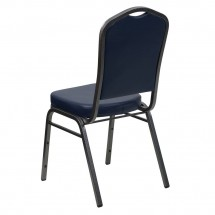 Flash Furniture FD-C01-SILVERVEIN-NY-VY-GG HERCULES Series Crown Back Navy Vinyl Stacking Banquet Chair with Navy Vinyl - Silver Vein Frame addl-2