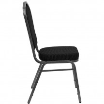 Flash Furniture FD-C01-SILVERVEIN-S076-GG HERCULES Series Crown Back Black Patterned Stacking Banquet Chair - Silver Vein Frame addl-1