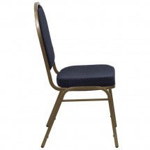 Flash Furniture FD-C03-ALLGOLD-H203774-GG HERCULES Series Dome Back Stacking Navy Patterned Banquet Chair - Gold Frame addl-1
