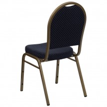 Flash Furniture FD-C03-ALLGOLD-H203774-GG HERCULES Series Dome Back Stacking Navy Patterned Banquet Chair - Gold Frame addl-2