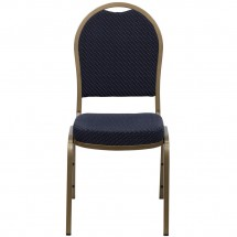 Flash Furniture FD-C03-ALLGOLD-H203774-GG HERCULES Series Dome Back Stacking Navy Patterned Banquet Chair - Gold Frame addl-3