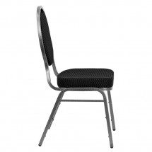 Flash Furniture FD-C04-SILVERVEIN-S076-GG HERCULES Series Teardrop Back Black Patterned Stacking Banquet Chair - Silver Vein Frame addl-1