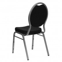 Flash Furniture FD-C04-SILVERVEIN-S076-GG HERCULES Series Teardrop Back Black Patterned Stacking Banquet Chair - Silver Vein Frame addl-2