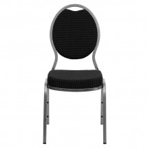 Flash Furniture FD-C04-SILVERVEIN-S076-GG HERCULES Series Teardrop Back Black Patterned Stacking Banquet Chair - Silver Vein Frame addl-3