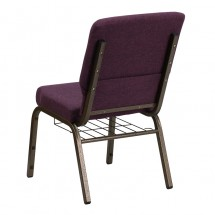 "Flash Furniture FD-CH02185-GV-005-BAS-GG HERCULES Series 18.5"" Plum Church Chair, Communion Cup Book Rack - Gold Vein Frame addl-2"