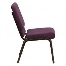 "Flash Furniture FD-CH02185-GV-005-GG HERCULES Series 18.5"" Wide Plum Stacking Church Chair - Gold Vein Frame addl-1"