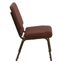 "Flash Furniture FD-CH02185-GV-10355-GG HERCULES Series 18.5"" Wide Brown Stacking Church Chair - Gold Vein Frame addl-1"