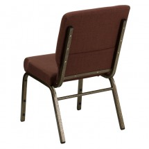 "Flash Furniture FD-CH02185-GV-10355-GG HERCULES Series 18.5"" Wide Brown Stacking Church Chair - Gold Vein Frame addl-2"