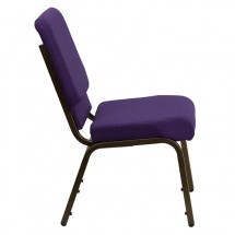 "Flash Furniture FD-CH02185-GV-ROY-GG HERCULES Series 18.5"" Wide Royal Purple Stacking Church Chair - Gold Vein Frame addl-1"