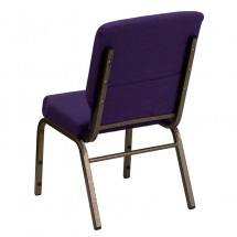 "Flash Furniture FD-CH02185-GV-ROY-GG HERCULES Series 18.5"" Wide Royal Purple Stacking Church Chair - Gold Vein Frame addl-2"