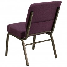 "Flash Furniture FD-CH0221-4-GV-005-GG HERCULES Series 21"" Extra Wide Plum Stacking Church Chair - Gold Vein Frame addl-1"