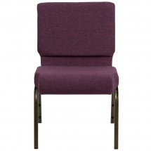 "Flash Furniture FD-CH0221-4-GV-005-GG HERCULES Series 21"" Extra Wide Plum Stacking Church Chair - Gold Vein Frame addl-2"