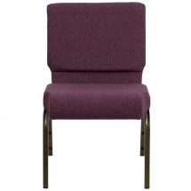 "Flash Furniture FD-CH0221-4-GV-005-GG HERCULES Series 21"" Extra Wide Plum Stacking Church Chair - Gold Vein Frame addl-3"