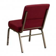 """Flash Furniture FD-CH0221-4-GV-3169-GG HERCULES Series 21"""" Extra Wide Burgundy Stacking Church Chair - Gold Vein Frame addl-1"""
