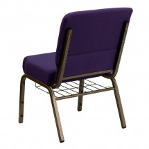 "Flash Furniture FD-CH0221-4-GV-ROY-BAS-GG HERCULES Series 21"" Extra Wide Royal Purple Church Chair, Communion Cup Book Rack - Gold Vein Frame addl-1"