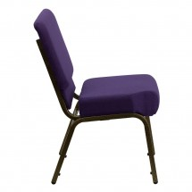 Flash Furniture FD-CH0221-4-GV-ROY-GG HERCULES Series 21 Extra Wide Royal Purple Stacking Church Chair - Gold Vein Frame addl-4