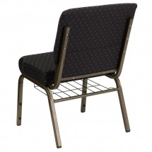 "Flash Furniture FD-CH0221-4-GV-S0806-BAS-GG HERCULES 21"" Extra Wide Black Dot Patterned Church Chair, Communion Cup Book Rack, Gold Vein Frame addl-1"